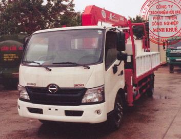 Xe tải gắn cẩu HINO XZU730L 3030 kg/2,4 m và 250 kg/12,11 m